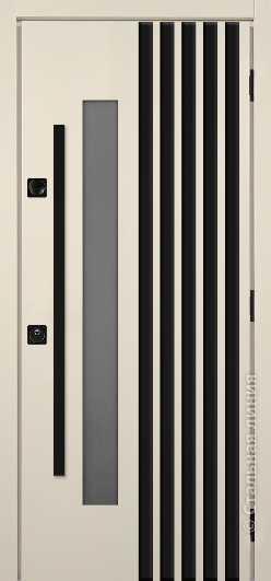 Полотно муар «Слоновая кость», окно С2-Z, баффели R-5 муар «Черный»
