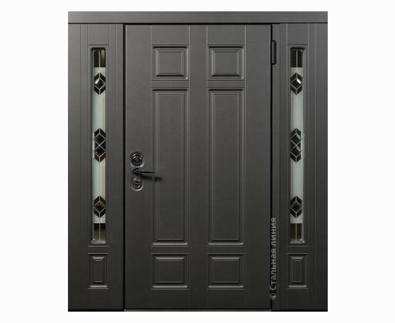Дверь для широкого проема с витражом