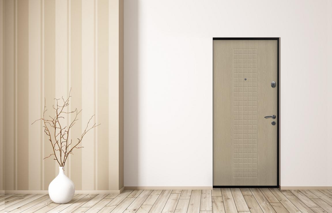 Светоая входная дверь для скандинавского стиля — модель «Омега» от завода «Стальная линия»